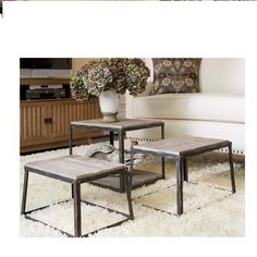 Stackable Wood Metal Weathered Modern Rustic Accent End Side Table 3 PC Set New | eBay