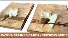 Learn how to created stained and patina rusted backgrounds for cards using Tim Holtz Distress Oxide Inks. I embellished the cards with Carabelle Studio Birgi. Art Basics, Art Journal Techniques, Distress Oxide Ink, Iron Orchid Designs, Card Tutorials, Ink Pads, Mix Media, Tim Holtz, Cardmaking