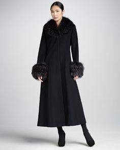 T5FFA Kelli Kouri Long Cashmere Fur-Trim Coat