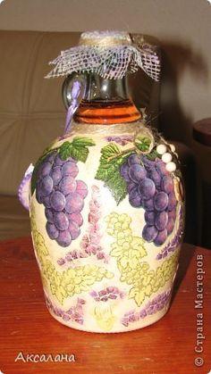 Декор предметов Декупаж Декупаж бутылок Бутылки стеклянные Краска Салфетки Скорлупа яичная фото 3