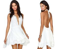 sexy backless white summer party dress 2014