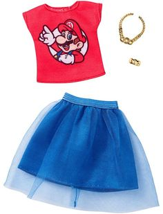 *2018 Super Mario fashions red top & skirt Barbie outfit #FKR83