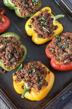 Easy Homemade Sloppy Joe Stuffed Peppers, Made With Ground Beef And Baked In The Oven, Are A Healthy Dinner Recipe The Whole Family Will Love – Rebel Without Applause One Pan Dinner Recipes, Ground Beef Recipes For Dinner, Dinner With Ground Beef, Healthy Dinner Recipes, Enchiladas, Ground Beef And Broccoli, Easy Stuffed Peppers, Homemade Sloppy Joes, Salisbury Steak Recipes