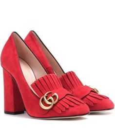 Gucci - Suede loafer pumps - Gucci gives loafer pumps a retro update with fringed detailing and a tall, block heel. The house's iconic logo in antique gold-tone metal complements the shoe's seductive red hue. Style these with a wool miniskirt for a vintag Red Loafers, Suede Leather Shoes, Heeled Loafers, Gucci Shoes, Suede Pumps, Loafer Shoes, Gucci Gucci, Stilettos, High Heels