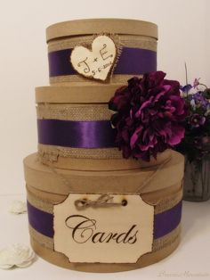 3 Tier Rustic Shabby Chic Wedding Card Box...with fall colored ribbon