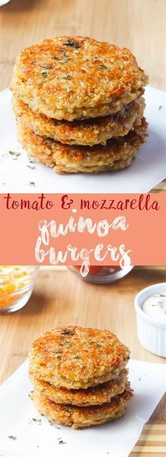 Quinoa Veggie Burgers (Sun-dried Tomato and Mozzarella) Sun-dried Tomato and Mozzarella Quinoa Burgers. Crazy delicious, veggie burgers that taste full of flavour and are filling and are very easy to make gluten free and vegan! via jessicainthekitch… Think Food, Love Food, Veggie Recipes, Cooking Recipes, Vegetarian Quinoa Recipes, Quinoa Recipes Easy, Easy Recipes, Gluten Free Recipes Uk, Easy Vegitarian Dinner Recipes