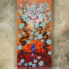 BIRD on brunch orange blossom tree SAKURA art love painting contemporary artwork acrylic on canvas by Ksavera gift ideas for her decor by KsaveraART #TrendingEtsy
