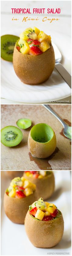 How to Make Tropical Fruit Salad with Vanilla Bean in Kiwi Cups on ASpicyPerspective.com #fruitsalad #kiwi