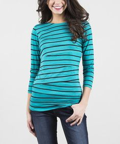 Love this Teal & Black Lombard Boatneck Top by Down East Basics on #zulily! #zulilyfinds