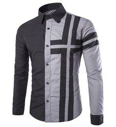 Trendy Color Block Long Sleeve Men's Shirt