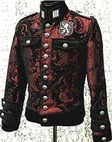 Shrine - Royal Marine Jacket - RED/BLACK TAPESTRY WITH BLACK VELVET