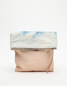 Blocked Shibori Clutch - leather and denim clutch #handbag