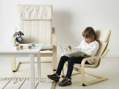 IKEA chairs - Read about the adventures of The Easter Bunny in matching adult and kid POÄNG chairs.
