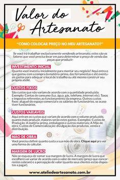 Como colocar preço no meu artesanato? Estes são os fatores que você precisa levar em para determinar o preço de venda das peças que produzir! Aprenda tudo sobre isso em www.ateliedeartesanato.com.br/como-ganhar-dinheiro-com-artesanato/ Alta Performance, Craft Corner, Craft Business, Relationships Love, Silhouette Projects, Diy Crochet, Digital Marketing, Sunbonnet Sue, Felt Art