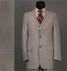 Vintage Men Suit 1970s Mens 3 Piece Light Grey by jauntyrooster, $175.00