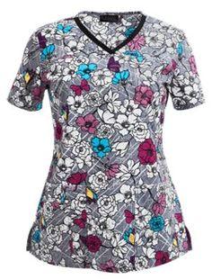 3703a49f8fb Cherokee Runway Scrubs Flower Fest Print Top Style # CK3670FW  #uniformadvantage #uascrubs #adayinscrubs