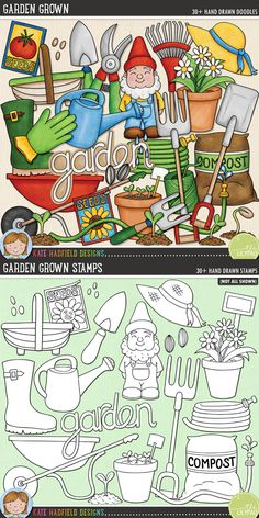 Gardening digital scrapbooking elements. Cute garden gnome clip art. Hand-drawn illustrations for digital scrapbooking, crafting and teaching resources from Kate Hadfield Designs! Click through to see projects created using these illustrations!