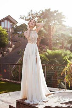 2015 New Chiffon Slit Lace Beach Wedding Dresses Sexy Open Back Bridal Gowns