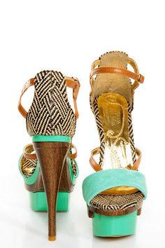 Mona Mia Mayo Mint Tribal Patterned Sculpted Platform Heels.... No matter what color this site puts out of this shoe, it remains sold out!