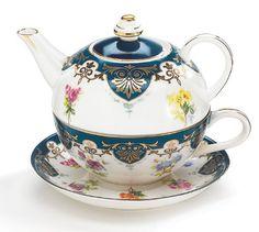 Amazon.com: Vanderbilt Porcelain Duo Teapot Tea For One From Biltmore House Collection: Royal Blue Tea Cup: Kitchen & Dining