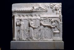 Ceremonial procession of Apollo and Goddess of Victory is standing - Apollo carries his string cithara and holds an offering cup, while Victoria is holding the offering pot. Roman Artifacts, Historical Artifacts, Ancient Artifacts, Ancient Rome, Ancient History, Ancient Greek, Roman Sculpture, Virtual Museum, 1st Century