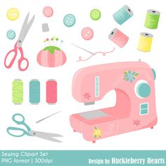 80% OFF SALE Sewing Clipart Sewing Machine by HuckleberryHearts