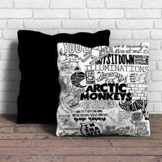 This is Arctic Monkeys collage lyric cute pillow cushion -Removable poly/cotton cover pillows are soft and wrinkle free. -Hidden zipper enclosure. -Do not include insert. -Finished with a black or whi