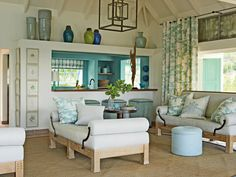 blue green and brown living  ideas | Industrial Blue Living Room - MyHomeIdeas.com
