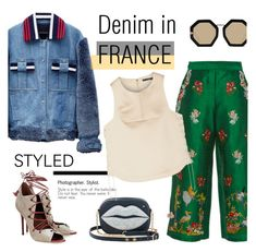 """""""How to Style a Denim Jacket for France in the Fall"""" by outfitsfortravel ❤ liked on Polyvore featuring VIVETTA, Jamie Wei Huang, Malone Souliers, Charlotte Olympia, Karen Walker and TIBI"""