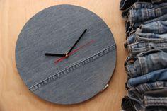 Dark denim wall clock , Jean handmade clock , simple denim wall clock , minimalist wall clock , modern wall clock , wall decor , wall clock by SecondBirthday on Etsy