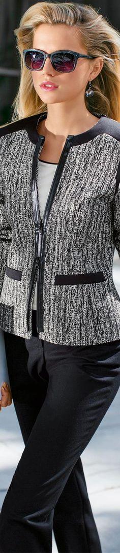 MADELEINE Tweed Zip Blazer
