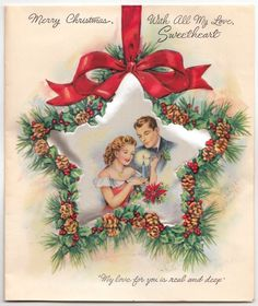 X-Large Vintage Greeting Card Christmas Satin Couple Miller 1940s