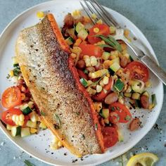 Pan-Seared Lake Trout with Bacon and Cranberry Bean Succotash | CookingLight.com #myplate #protein #veggies #fruit #dairy