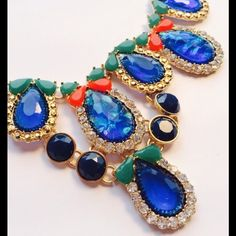HOST PICK Glamorous crystal statement necklace Capri blue tear drop rhinestone necklace & earring set STAA-100009 (2) NYC Chic Accessories Jewelry Necklaces