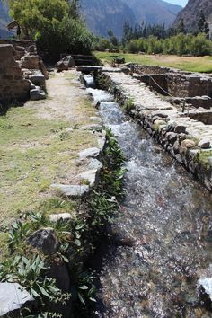 Pisac, Peru — by Jeannette Ramos. Stone water Ducts to bring water from Urubamba river !