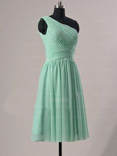 mint bridesmaid dress one shoulder bridesmaid dress by okbridal, $98.00