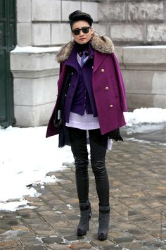 #EstherQueck in her purply hues. @Stefano Coletti got the shot. so good. #TheStreetFashion5xpro