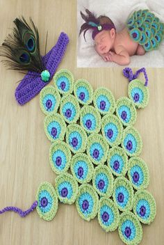 CCC215 Green Blue And Purple Peacock Knit Body With Feather Headband Set Prop