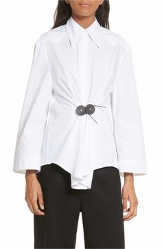 Beloved Mens Fashional Long Sleeves Solid Flounced Button Front Basic Classic Shirt White M