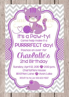 Purple playful kitten birthday party invitation party invitations printable kitten birthday party invitation personalized pink blue and gray cat invitation for birthday party you print filmwisefo Image collections