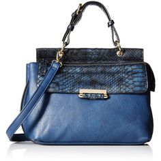 MG Collection Metallic Snake Cross-Body Bag (£35) ❤ liked on Polyvore featuring bags, handbags, shoulder bags, hand bags, crossbody tote, blue tote bags, crossbody purses and shoulder tote bags