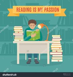 Flat Young Man Sitting in the Library and Reading a Book. Read books vector concept. Education and school, study and literature. young man  read his favorite book .