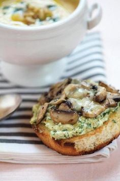 Tartine with Walnut, Lemon and Ricotta Pesto and Sauteed Mushrooms - by La Tartine Gourmande