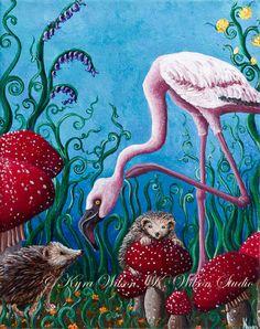 Alice in Wonderland fine art print by Kyra Wilson flamingo hedgehog toadstool mushroom fantasy fairytale. $30.00, via Etsy.