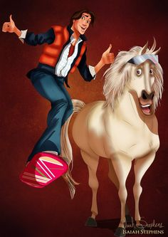 Flynn Rider and Maximus as Marty McFly and Doc Brown
