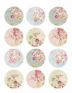 Edible Pink Shabby Chic, Vintage Floral Wafer Paper Cookie, Cupcake & Treat Toppers for Anniversaries, Mother's day, Baby and Bridal Showers Blue Shabby Chic, Vintage Shabby Chic, Vintage Floral, Shabby Chic Background, Paper Background, Bridal Shower Cupcakes, Bottle Cap Images, Vintage Designs, Vintage Postcards