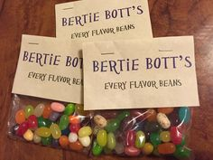 Made my own bags, which were a fraction of the cost and much more delicious.   Printed my own labels using antique paper and small treat bags filled with Jelly Belly jelly beans.