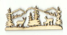 Deer Scene - Laser Cut Wood Shape DER46