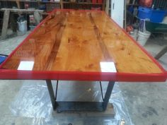 Macrocarpa / Blackwood / Resin. dining table. www.hooch.nz