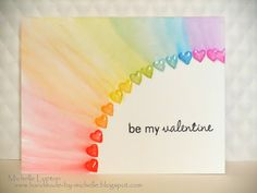 Handmade by Michelle: Clean and Simple Cardmaking 2 - Day 2 - Karten - Valentines day Love Cards, Diy Cards, Diy Birthday, Birthday Cards, Simple Card Designs, Tarjetas Diy, Rainbow Card, Rainbow Colors, Karten Diy